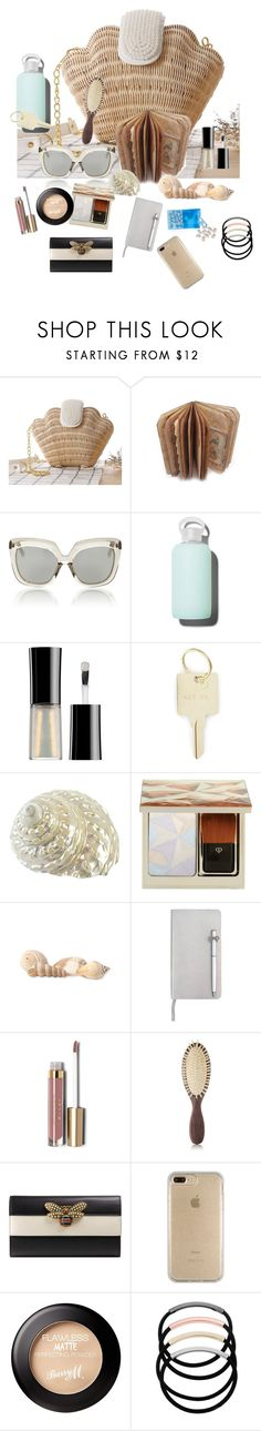 """#what's in my bag?"" by wendycecille ❤ liked on Polyvore featuring Linda Farrow, bkr, Giorgio Armani, The Giving Keys, Clé de Peau Beauté, Coldwater Creek, ICE London, Stila, Christophe Robin and Gucci"