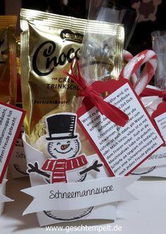 Stampin up, Schneemannsuppe, Es Schneit, frostige Freunde, Pommes-frites-Schachtel Christmas Paper Crafts, Stamping Up, Container, Grad, Kids, Kindergarten, Diy Presents, Small Christmas Gifts, Young Children