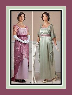 TITANIC ERA-Exquisite Evening Gowns-Two Styles-Empire Waist-Lace Overlay-Corset-Low Scoop Neckline-Belt-Train-Cascade Drape-Uncut-Size 6-12 by FarfallaDesignStudio on Etsy