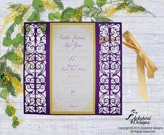 Purple Laser Cut Invitation
