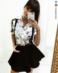 GABIIII, adoramos te conhecer!! Uma fofa! Até a próxima #repost @ricademarre. ・・・ O primeiro look que usei aqui no evento da @limone_modas foi amor à primeira vista. Amei amei e amei essa saia com suspensório + camisa.