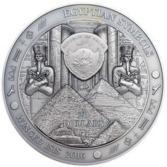 """This incredible 3 Oz Silver coin is part of the """"Egyptian Symbols"""" series and is dedicated to the ancient Egyptian Goddess Isis. Mayan Symbols, Viking Symbols, Egyptian Symbols, Viking Runes, Ancient Symbols, Ancient Artifacts, Ancient Aliens, Ancient History, Isis Goddess"""