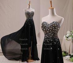 Black Sweetheart Beading Bodice Chiffon High-Low Prom Dresses/Evening Dresses/Homecoming Dresses/Celebrity Dress/Custom Dresses/X142