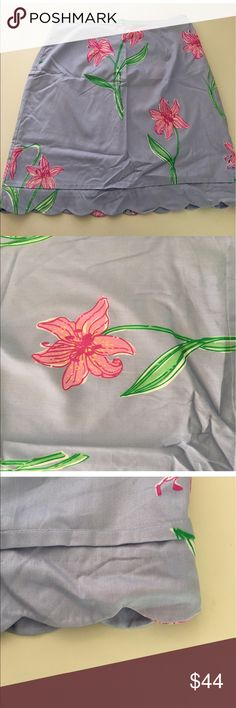 """Lilly Pulitzer Scallop Hem Skirt 14 Lilly Pulitzer scalloped edge skirt. Lined. Zip closure in back. Excellent condition. Size 14 16"""" across at waist  22"""" across at hips  23"""" long . Lilly Pulitzer Skirts"""
