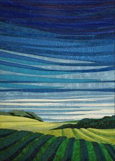"""Midday Sky, Fiber, 22.5 x 27.5"""" framed   Lubbesmeyer fiber art   art quilts"""