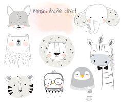 Tiere doodle Satz 2 Wald Clipart Tiere Clipart Ins Tier Doodles, Watercolor Clipart, Credit Card Design, Animal Doodles, Grafik Design, Cute Illustration, Learn To Draw, Nursery Art, Icon Set