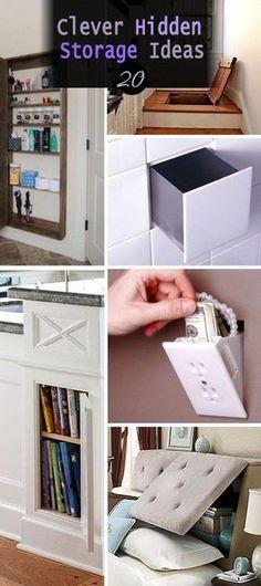 Lots of Clever Hidden Storage Ideas. Such as hidden stairway storage, bathroom storage case behind the mirror, hidden storage headboard and etc.