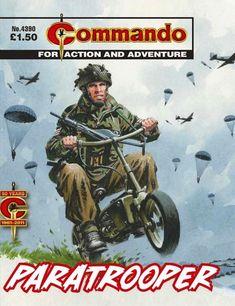 Commando #4390 Vintage Bicycles, Vintage Motorcycles, Ww2 History, War Comics, Paratrooper, Old Paintings, Bike Art, Pulp Art, Pin Up Art