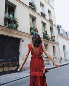 $160 Cool Chic Parisian Street Style Summer Light Floaty Thin Ruffled Open Back Sleeveless Red Chiffon Dress With White Spot Embroidery And Gold Arm Cuff