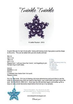 Twinkle Twinkle simple tatted star PDF pattern.