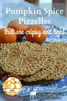 Pizzelles are an Italian wafer cookie made with a special iron press that squishes the cookie batter between two decorative plates, and then heats it to a crisp cookie texture, much like a waffle cone. Pizzelles are quick to make, and not too sweet. Pumpkin Recipes, Fall Recipes, Holiday Recipes, Cookie Recipes, Dessert Recipes, Gf Recipes, Delicious Desserts, Pizzelle Cookies, Wafer Cookies