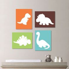 Colorful Bright Dinosaur Dino Print Quad - Wall Art. Baby. Decor. Nursery. Child Kid Baby Shower. Boy - You Pick the Size (NS-282)