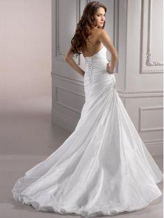 Chic Mermaid/Trumpet Sweetheart Court Train Taffeta Wedding Dress