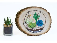Terrarium wood wall art, wood slice painting, succulent string art, cactus plant sign, embroidered w Succulent Wall Art, Cactus Wall Art, Rustic Centerpieces, String Art, Nursery Art, Rustic Decor, Decor Styles, Art Projects, Creative