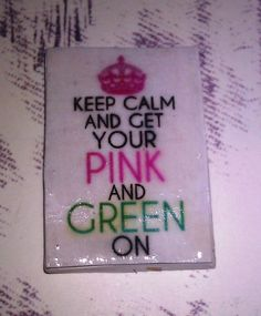Pink and Green love... Etsy listing at https://www.etsy.com/listing/179226570/polymer-clay-square-disc-cabochon-flat