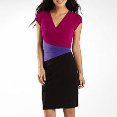 London Style Colorblock Shutterpleat Dress - $40