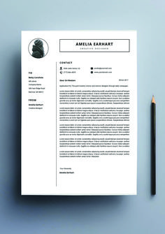 Resume Template CV Design Psd Photoshop Word Vintage