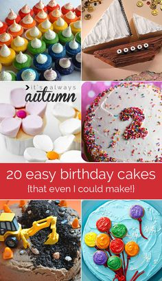 Simple yet colorful and creative, these 20 easy DIY birthday cake ideas and decorations may be the perfect way to celebrate your little one's next milestone—no matter what the kid-friendly birthday party theme may be! Cake Cookies, Cupcake Cakes, Diy Birthday Cake, 20 Birthday, Easy Kids Birthday Cakes, Dinosaur Birthday, Frozen Birthday, Birthday Ideas, Rodjendanske Torte