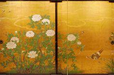 牡丹図. Detail. Fusuma from Peony Room (artist: Kano Sanraku) (Daikaku-zi Temple, Kyoto). It was completed in 1673 was designated as an important cultural property of Japan.