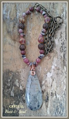 Rhodonite and Jasper necklace by Crystal Hart & Soul
