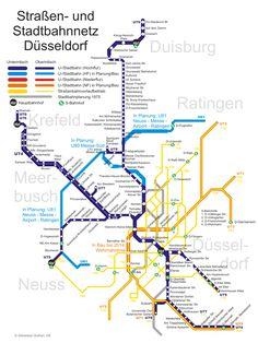 Le réseau de transport en commun de la ville de Dusseldorf, connu comme #Dusseldorf #Stadtbahn, dispose d'un système de métro composé par des trains, un métro, un tramway et des autobus. L'entreprise en charge est Rheinbahn, qui est elle-même intégrée à l'association de Transport Rhein-Ruhr (VRR).