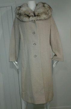 c9f122383b0 Vintage 50 s FURLAINE Worumbo Genuine Fox Fur Collar Classic Long Coat XL   Read in Clothing