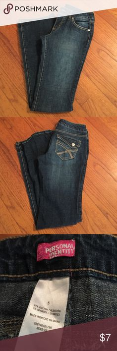 Personal Identity Jeans Dark blue jeans. Medium in length. Cotton blend. Buttons on back pockets. Personal Identity Jeans Boot Cut