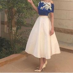 Flowers Off-the-Shoulder A-line Satin Two Pieces Prom Dresses 2017