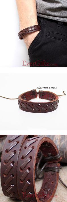 Genuine Leather Bracelets Layered Knit Weaved Gift Jewelry Accessories Unisex Men Women