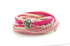 Floral Wrap Bracelet Leather wrap  Beige Pink and by cardioceras, $24.00