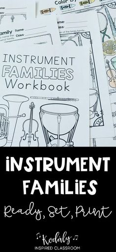 Instrument Families Workbook: Are you working on instrument families while studying instruments of the orchestra? This set can be used as individual assignments or quizzes or can be put together in a workbook for your elementary music students.