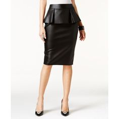 Thalia Sodi Faux-Leather Peplum Pencil Skirt, ($40) ❤ liked on Polyvore featuring skirts, deep black, knee length pencil skirt, faux leather pencil skirt, vegan leather pencil skirt, pencil skirt and imitation leather skirt