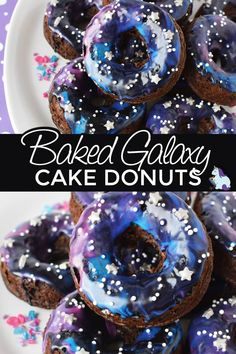 Cake donuts are easy to bake and fun to decorate. With a box of cake mix and some simple ingredients, you can whip up a batch of galaxy cake donuts in no time! Galaxy Cupcakes, Galaxy Cake, Baked Donut Recipes, Baked Donuts, Doughnuts, Galaxy Desserts, Fun Desserts, Dessert Recipes, Delicious Donuts
