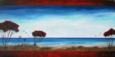 Art by Lanie Wilton. View from Okitu - Wainui Beach. Landscape Photos, New Zealand, Paintings, Beach, Artist, Paint, The Beach, Painting Art, Artists