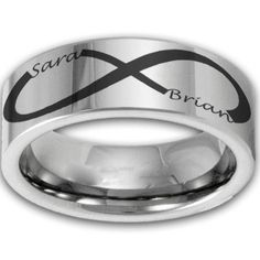 8MM Wide Custom Infinity Symbol Tungsten Ring w/ Two Name Couples Band Mens or Womens Promise Ring on Etsy, $79.99