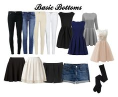 """""""Basic Bottoms"""" by kaitlynsalisbury on Polyvore featuring Monki, Orla Kiely, Burberry, River Island, J Brand, BLK DNM, J.Crew and Boutique Moschino"""