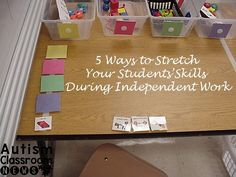 So your students know how to use an independent work system (TEACCH)...here are 5 ways you can stretch their skills by making the structured work system more complex.