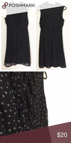 1cacda7eb6f Black Polka Dot Dress Fully lined polka dot dress. Zipper on the side.  Ruffles and buttons at front. Excellent condition. 100% Polyester. Merona  Dresses
