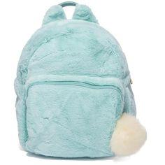 Fuzzy Aqua Blue Mini Backpack (135 PLN) ❤ liked on Polyvore featuring bags, backpacks, blue backpacks, aqua blue backpack, aqua bag, pom pom bag and mini bag