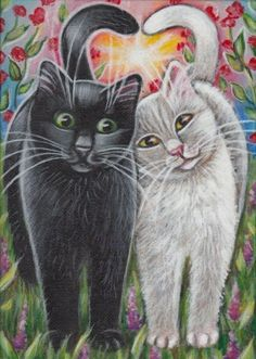 Black & White Cats Valentine Painting