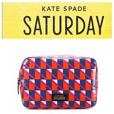 "Saturday Boxy Cosmetic Case Kate Spade Saturday case in Geo Flag design.  PVC a coated cotton exterior and cotton lining.  The case has a zip around closure.  The print is all over.  Size is H 7.08"" x W 5.12"" x D 3.15"" kate spade Accessories"