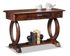 Amish Saratoga Open Sofa Table with Drawer Amish made with a gorgeous contemporary base. Custom made sofa table in choice of wood and finish.
