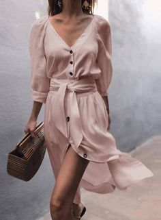 V Neck Belt Puff Sleeve Button Casual Vacation Dress , Moda Dress For Summer, Casual Summer Dresses, Summer Dresses For Women, Sexy Dresses, Dress Outfits, Cool Outfits, Fashion Outfits, Elegant Dresses, Womens Fashion