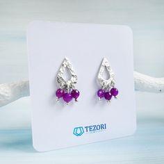 Handmade Jewelry Designs, Jade Beads, Sterling Silver Earrings Studs, Teardrop Earrings, Little Gifts, Etsy Earrings, Studios, Elegant, Purple