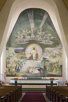 Lennart Segerstråle (1892-1975); Finnish: The 14 meters high fresco Elämän lähde (The fount of Life) on the altar wall of Rovaniemi Church (Finland); 1951.
