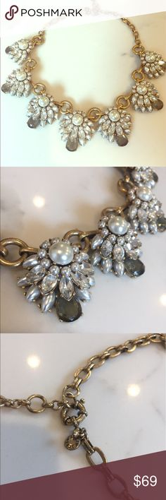 J.Crew pearl necklace Exquisite pearl and smokey and clear crystal statement necklace. Absolutely stunning. Excellent condition. J. Crew Jewelry Necklaces