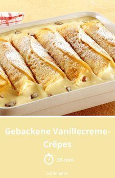 Baked vanilla cream crepes – Famous Last Words Vegan Vanilla Cake, Cake Vegan, Raw Cake, Crepes, Easy Crepe Recipe, Crepe Recipes, Vegan Appetizers, Appetizer Recipes, Banana Recipes