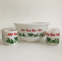 Vintage Hazel Atlas Holiday Egg Nog Set by IgnatiusGreyVintage