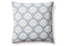 Poppy 18x18 Cotton Pillow, Blue