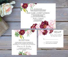 Burgundy Wedding Invitation | Bordeaux Wedding Invitation | Printable Wedding Invitation | Maroon Wedding Invitation | Boho Wedding